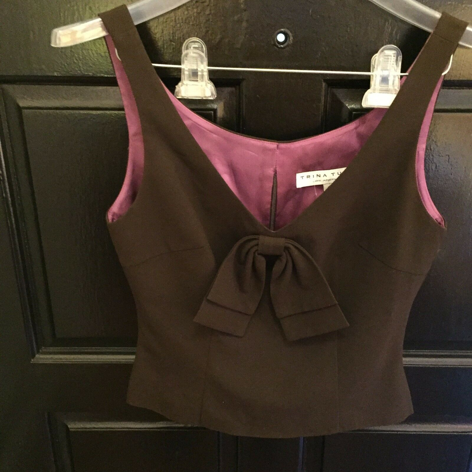 Trina Turk Brown Polyester Blend Bow Tie Blouse NWOT- Size 2