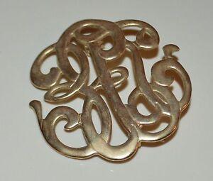 Gold-Tone-Metal-Swirls-or-Letters-Lapel-Pin-Brooch