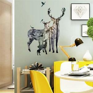 Deer in Forest Art Wall Decals Removable Vinyl Sticker DIY Home Bedroom Decor LJ