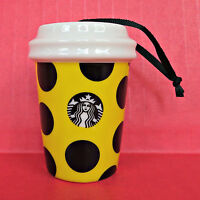 Starbucks 2015 Citron Polka Dot Ornament Ceramic Christmas Tree Holidays Yellow