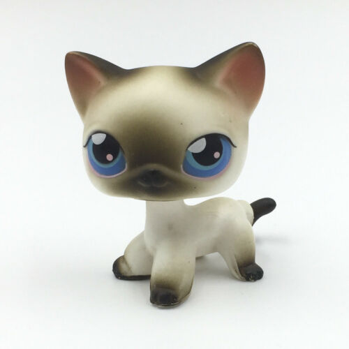 Littlest Pet Shop Toys LPS cat #5 white short hair cat with blue Eyes rare LPS