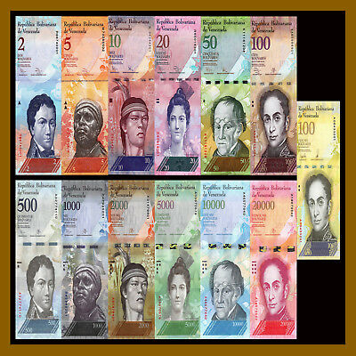 Bolivares New 2016-2017 Unc 100,000 Venezuela 500-100000 7 Pieces Pcs Set