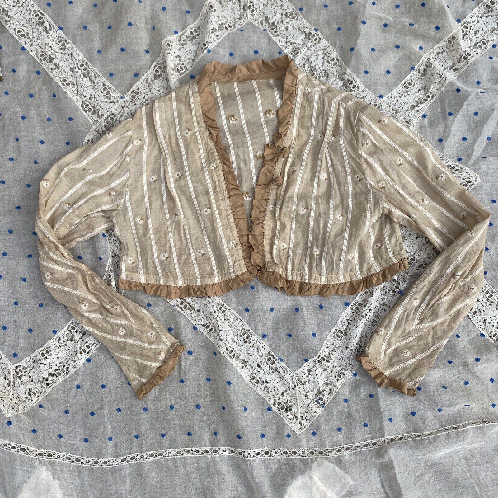 Antique Edwardian Ecru Cotton Blouse Top Embroide… - image 2