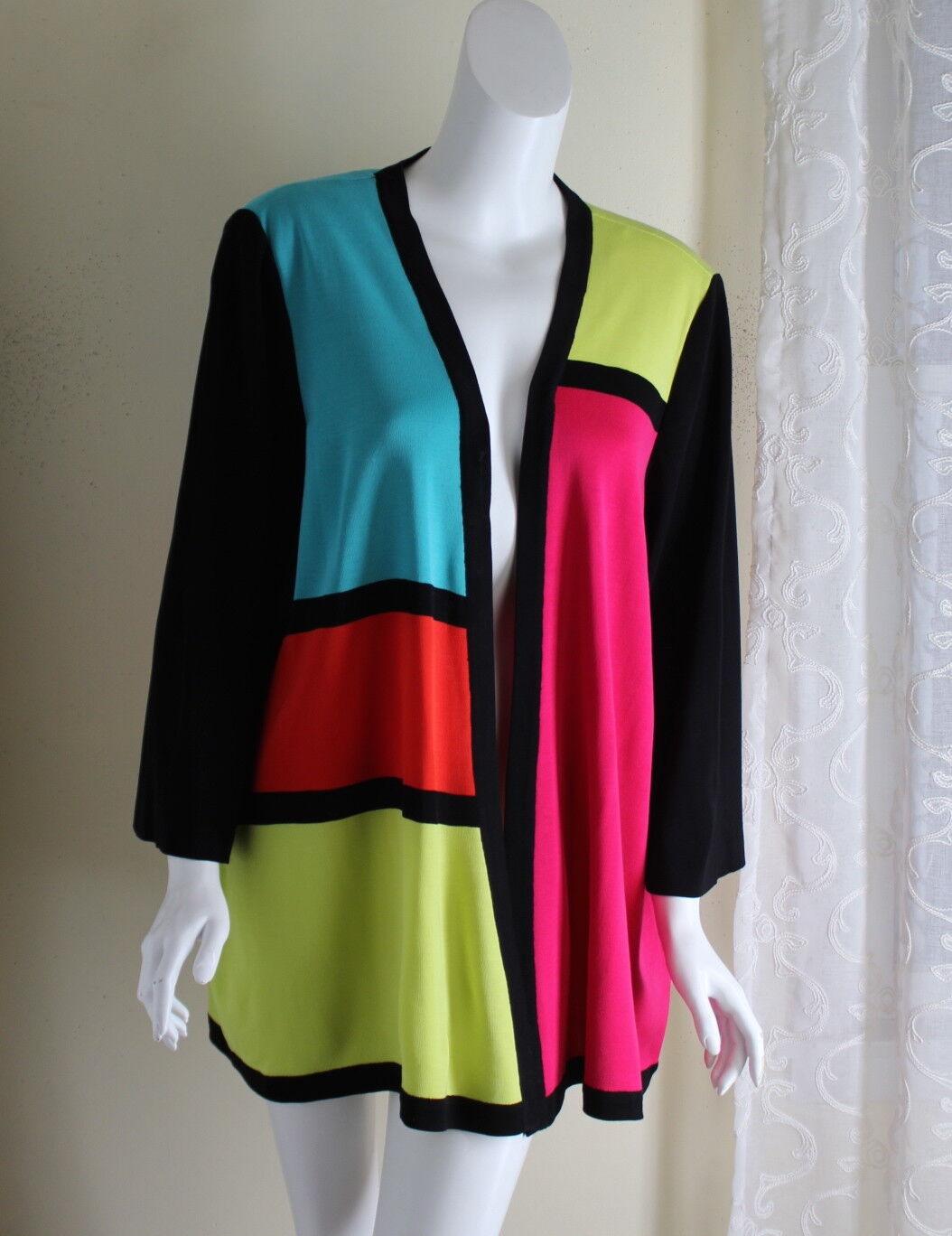Exclusively  misook-SZ 0X XL 1X en Colors vivos feliz brillante chaqueta abierta modernista  cómodamente