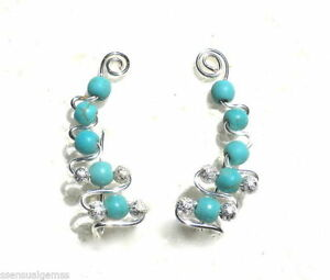Genuine-Turquoise-Pressed-Ear-Cuff-Wrap-Earring-Pin-Trails-up-Ear-Silver-Plated