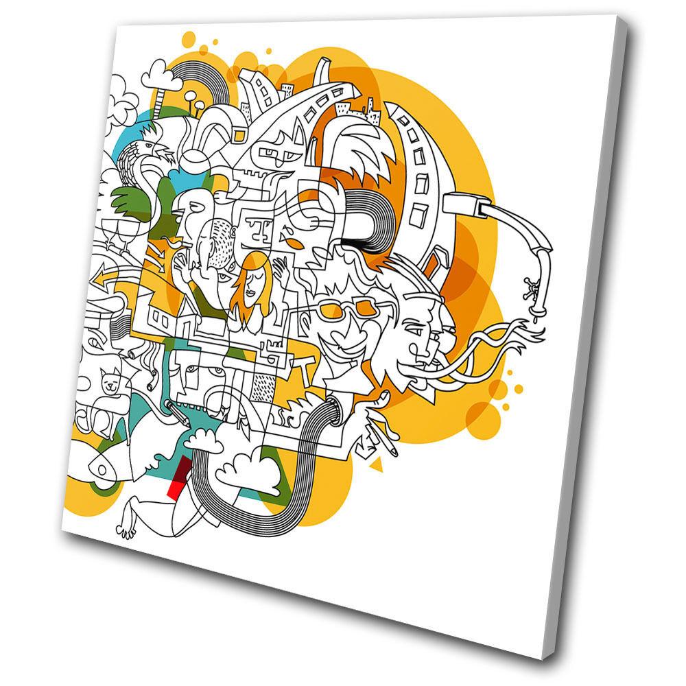 Illustration Funky Abstract  SINGLE TELA parete arte foto stampa