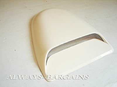 Universal Air Flow Hood Scoop Duct Vent Honda Prelude 89-01 Mesh Grill White
