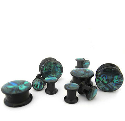 1 Pair of Abalone Shell Acrylic Plugs 2G - 1 Inch  Pick Your Gauge Size - New!