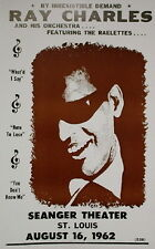 """Ray Charles & his Orchestra Concert Poster - 1962 - w/ the Raelettes - 14""""x22"""""""