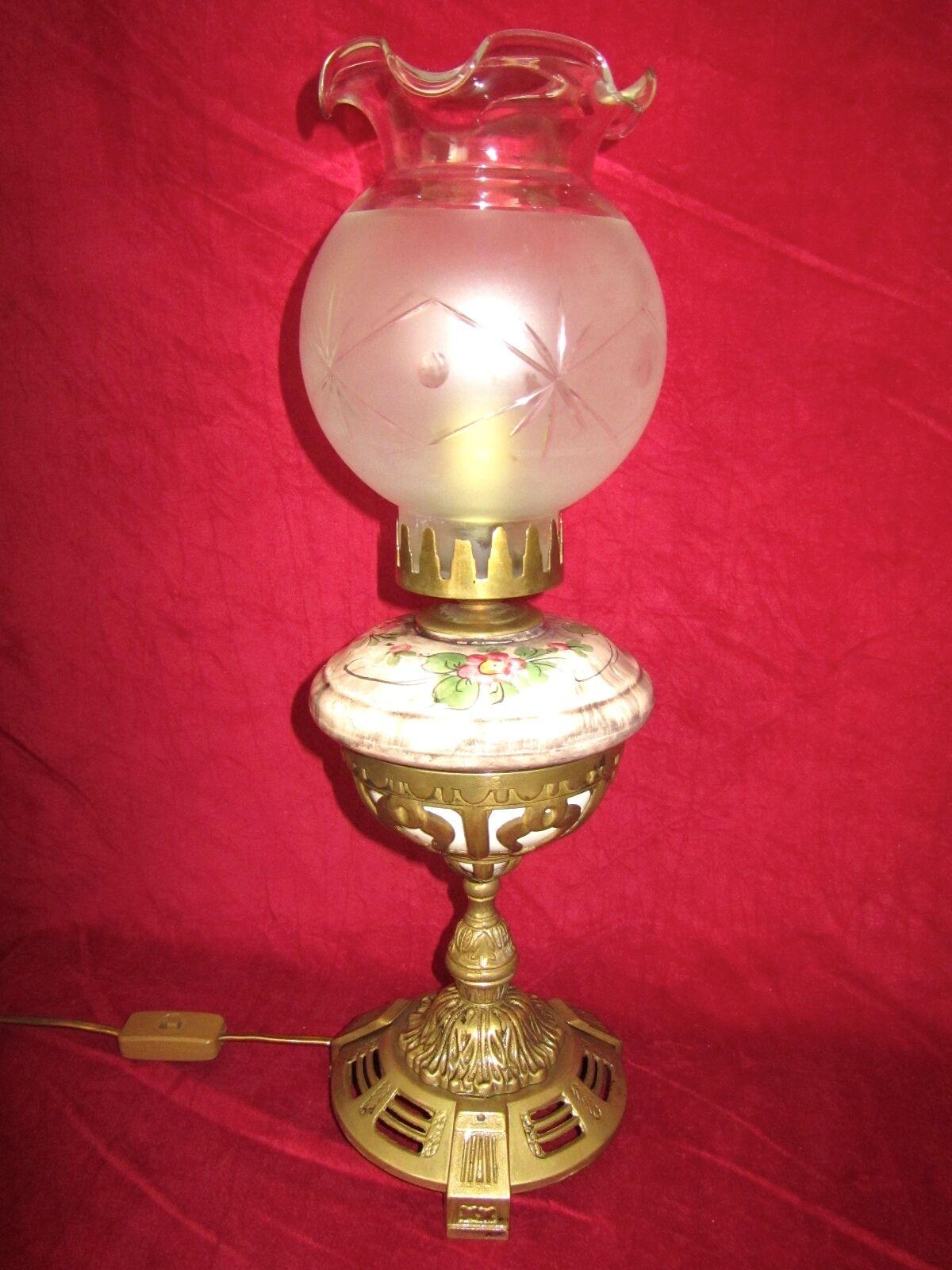 Antique cm Laiton-Céramique-Verre Lampe de bureau 1 brûleurs 52 cm Antique haut 5a1d5a