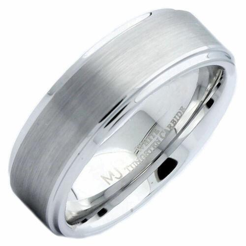 8mm White Tungsten Carbide Brushed Wedding Ring Recessed Edge