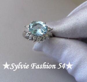 Belle-bague-argent-925-creation-ciselee-bleu-Topaze-et-brillants-zc-T-59
