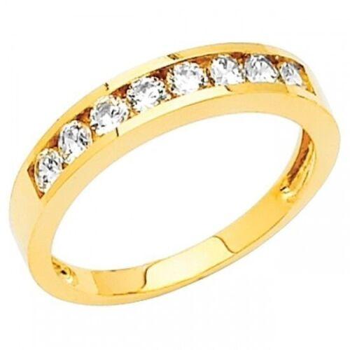 14K Solid Yellow Gold .40ct Simulated Diamond Wedding Band Bridal Ring