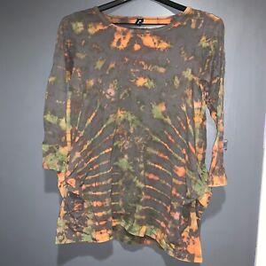 SACRED-THREADS-Long-Sleeve-Tie-Dye-Tunic-Top-Blouse-Shirt-Woman-039-s-XL-Mudmee