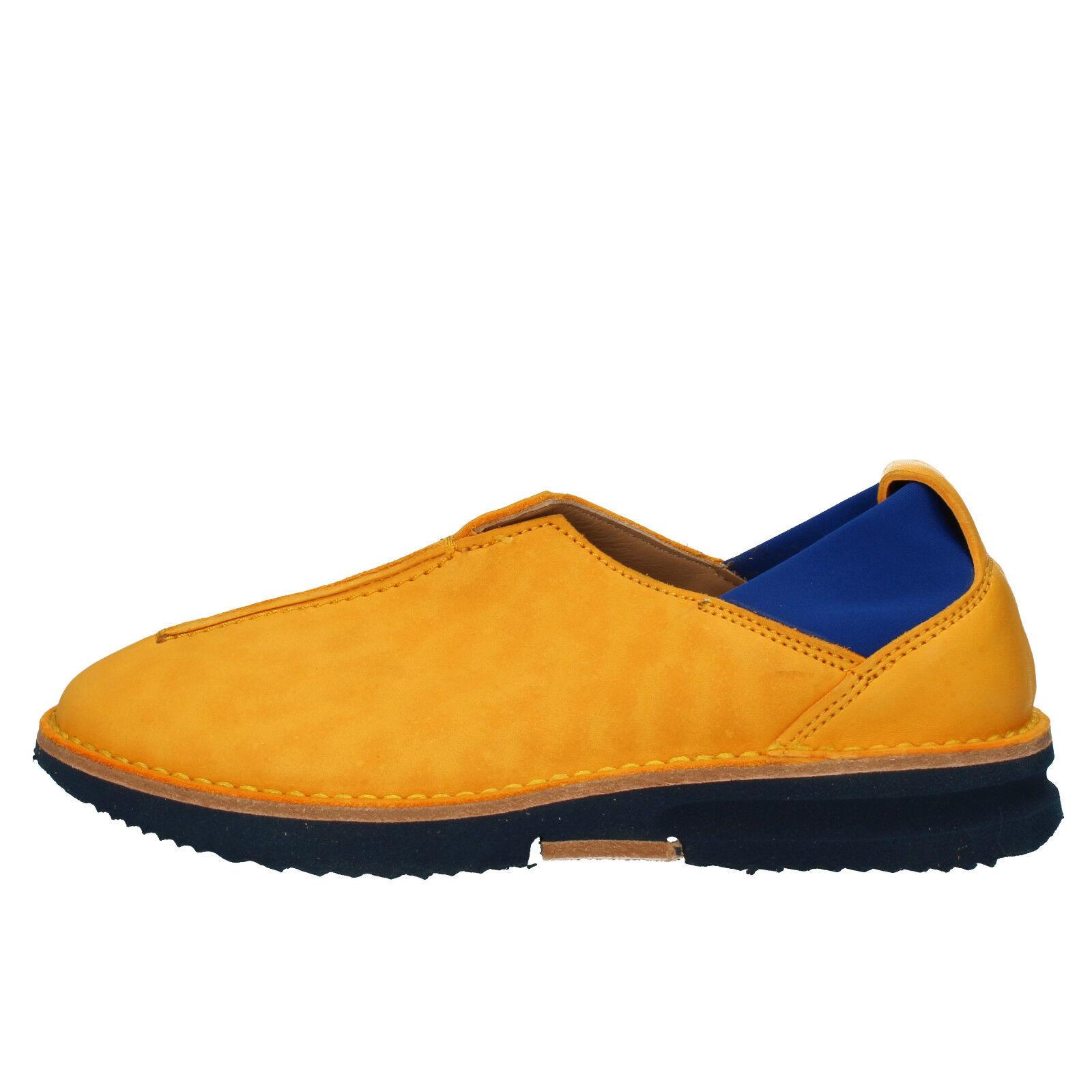 Damen schuhe MOMA 37 EU Turnschuhe gelb blau leder AD162