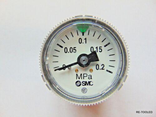 """SMC MPa PSI AIR PRESSURE VACUUM GAUGE 0-.2 1-3//4/"""" FACE 1//4/"""" INLINE SCREW ON"""