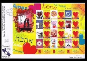 ISRAEL-STAMPS-2010-VALENTINE-039-S-DAY-LOVE-AMOR-SPECIAL-SHEET-ON-FDC