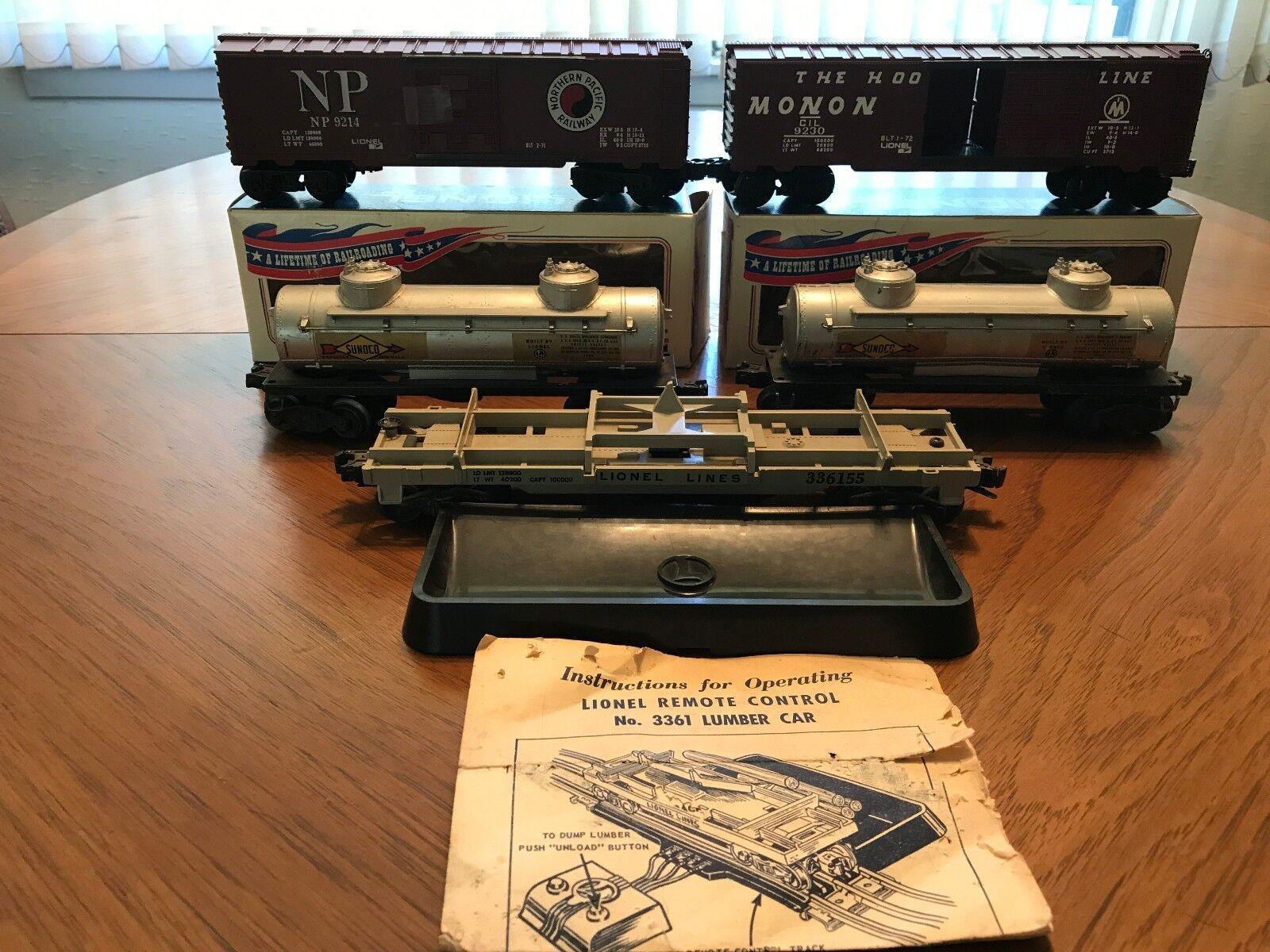 5 Vintage Lionel coches de ferrocarril-Caja de 2 coches, dos petroleros y un coche de madera