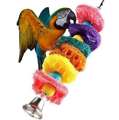 Bird Parrot Toys Parakeet Budgie Cockatiel Conure Loofah Sponge Chew Bell Cage