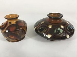 Herman-Kahler-Keramik-HAK-Vtg-Denmark-Set-2-Signed-Small-Mini-Vase-Slip-Decor