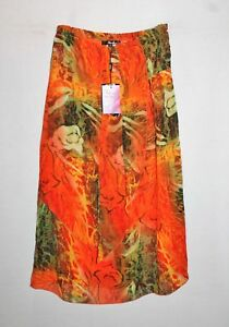 Vivid-Brand-Chiffon-Orange-Green-Pattern-Lined-Maxi-Skirt-Size-10-BNWT-TK89