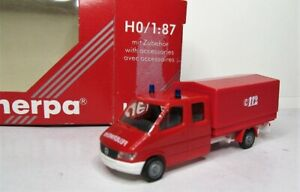 Herpa 1:87 Mercedes Benz Sprinter Doka Pritsche und Plane OVP 043083 Feuerwehr