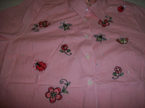 WOMENS PLUS SIZE 30//32W BUTTON DOWN BLOUSE SHIRT TOP EMBROIDERY FLORAL PINK