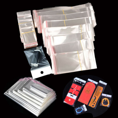 Various Clear Self Adhesive Seal Plastic Bag Pouch OPP Packing Bags Hang Hole