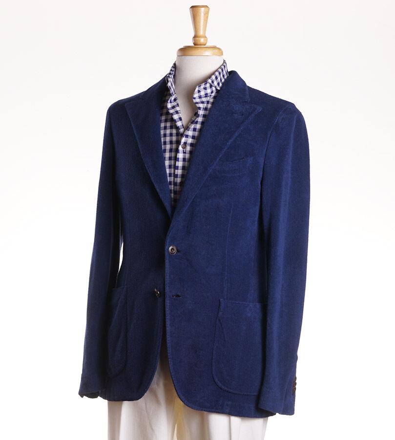 NWT 1195 BOGLIOLI Blau Terrycloth Cotton Blazer 40 R (Eu 50) Sport Coat