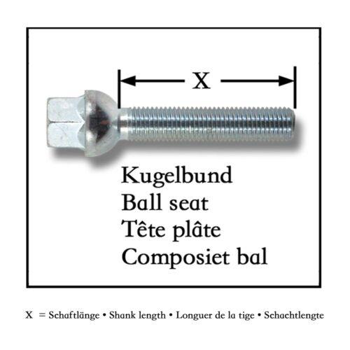 Perno de rueda 10x tornillos ensanchamiento llantas de aluminio bala federal m12 x 1,5 60mm