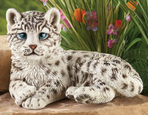 "White /& Black  Snow Leopard Spotted Cat Outdoor Sculpture Yard Figurine 10-1//2/""L"