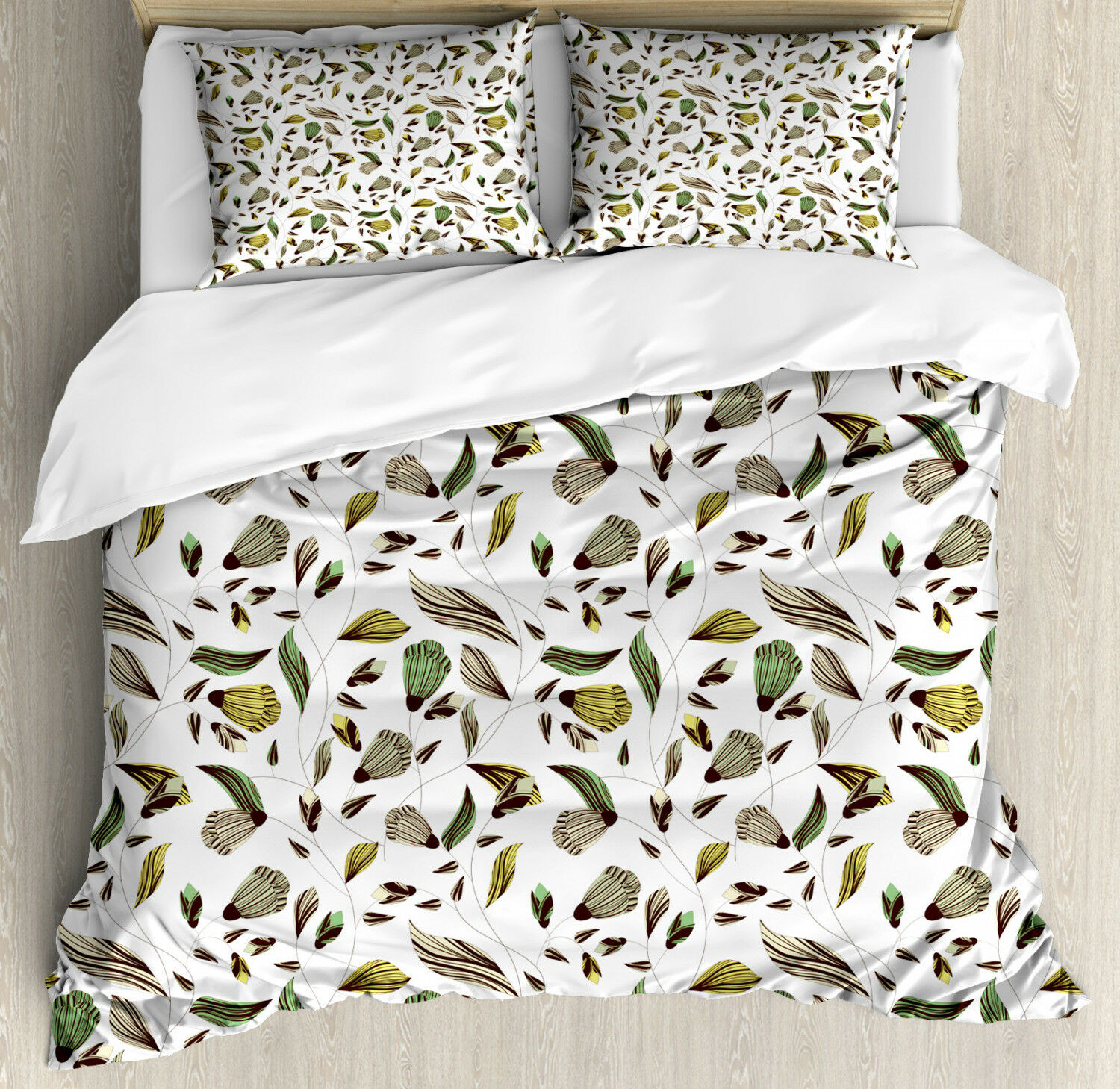 Floral Duvet Cover Set with Pillow Shams Autumn Nature Design Print
