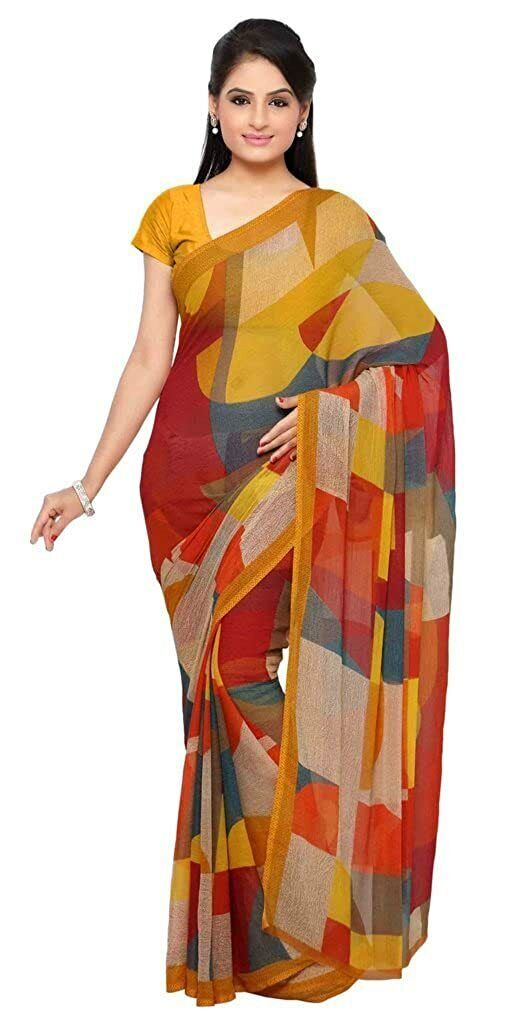 Women's Georgette Printed Saree With Unstitched Blouse ( Free Shipping )