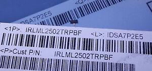 50 St  SMD Transistor IRLML2502 45mR, 4,2A, N-Fet Logikpegel-Gat<wbr/>e, neu, SOT23