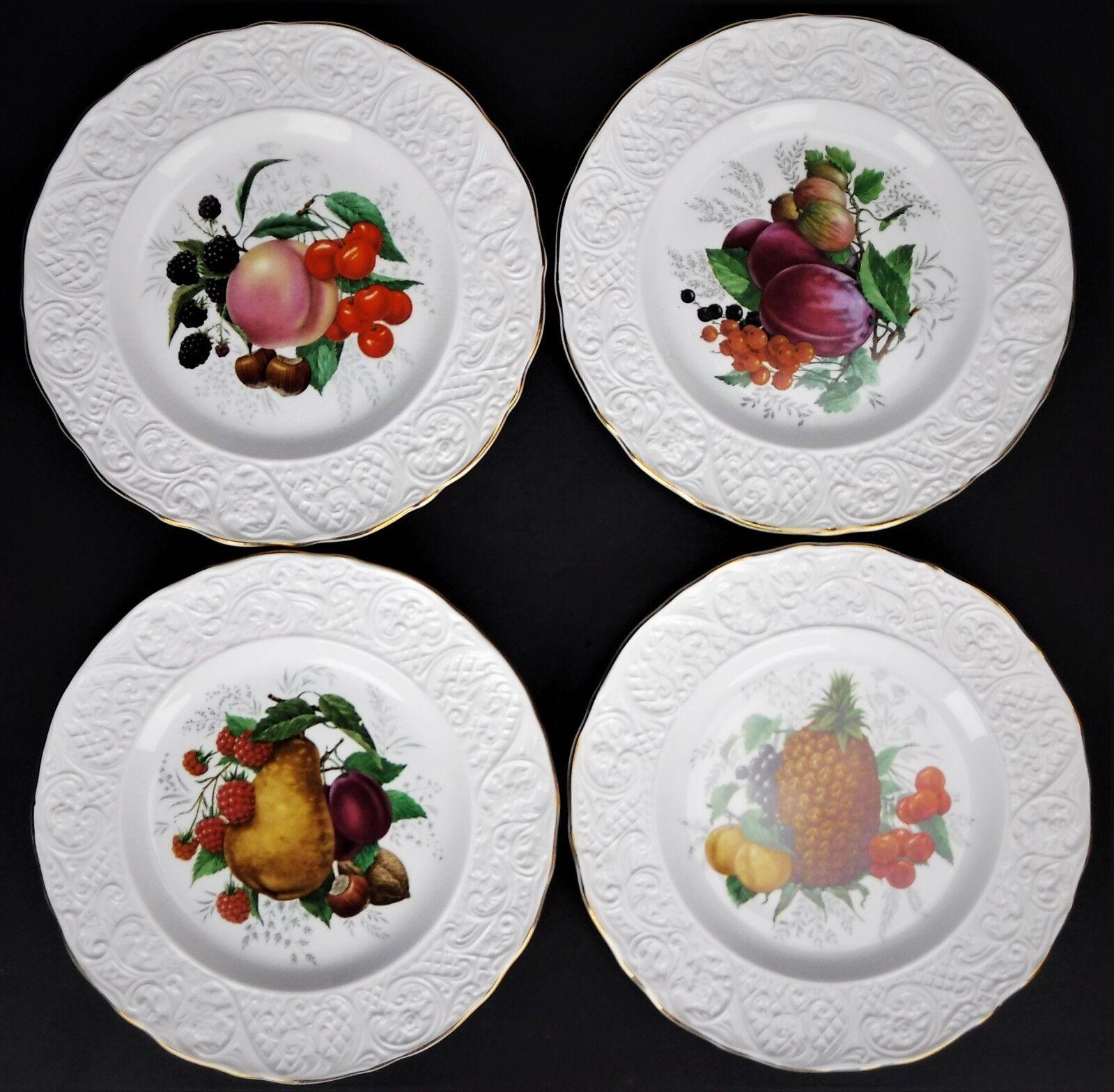 4 Marlborugh Old ENGLISH IRONSTONE fruits plaques 9  salade Accent dessert Simpson