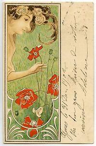 Raphael-kirchner-Femme-dans-un-decor-Floral-Art-Nouveau-034-les-Coquelicots-034