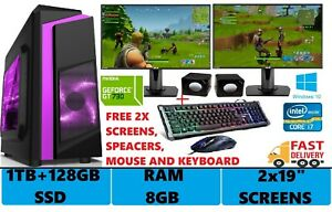 ULTRA-SUPER-Fast-Gaming-PC-Core-i7-i5-8GB-1TB-128GB-SSD-Windows-10-2GB-GT710-WiF