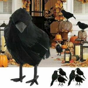 Black Lifesize Raven Movie Prop Fake Crow Halloween Fake Bird Hunting Decor Vi