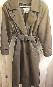 London-Fog-Trench-Coat-Size-6-Womens-Double-Breast-Green-Removable-Lining