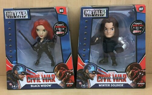 "Black Widow Winter Soldier Jada Metals Marvel 4/"" Figure Civil War Avengers Lot"