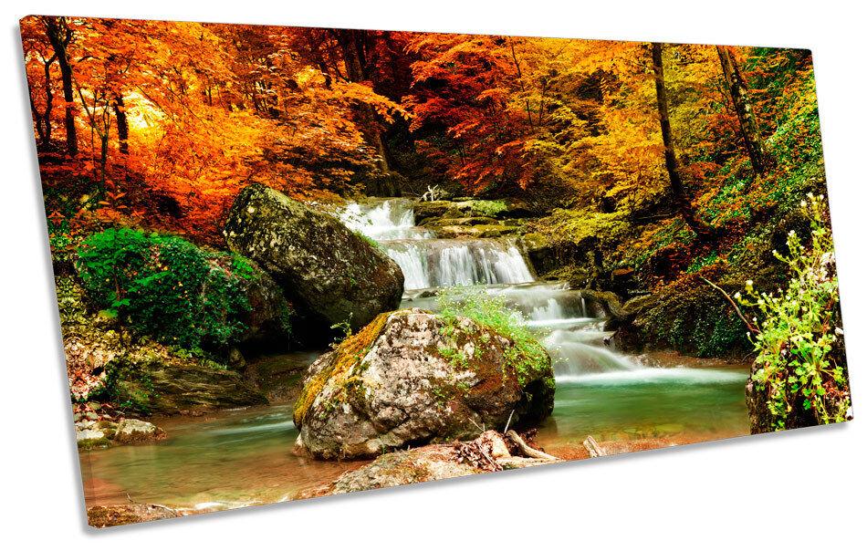 Otoño bosque paisaje río río río cascada panorama LONA pa rojo  arte Foto impresión c620d5