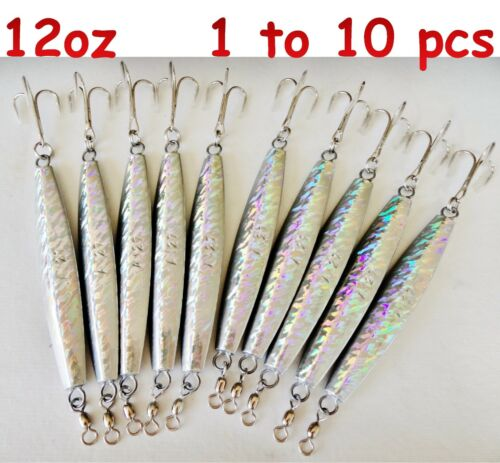 environ 340.19 g 12 oz Diamond Jig Holographique Saltwater pêche leurres Choisir Qté 1 To 10 pieces