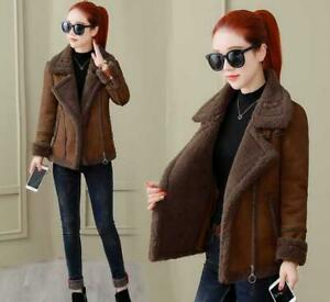 Womens Lambswool Fur Coat Aviator Suede Leather Jacket Winter Thick Outwear Tops