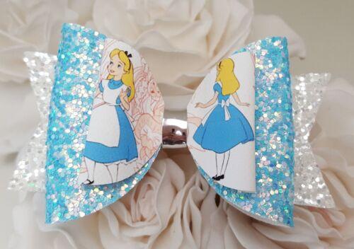 "Alice pale blue /& white glitter Hair Bow Clip 3.5/"""
