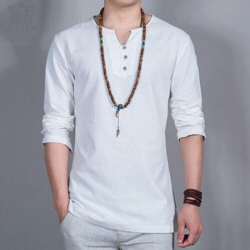 Casual Men/'s Linen Pullover Shirts Full Sleeves Shirts Asian Size Loose