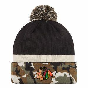 229d718e536 Image is loading Chicago-Blackhawks-Adidas-Cuffed-Pom-Knit-Hat-Black-