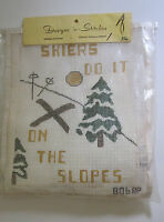 Skiers Do It On The Slopes Needlepoint Kit 806 Designs 'n Stitches Sealed