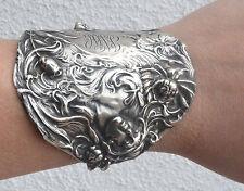 Art Nouveau Goddess Sterling Silver Cuff Bracelet Lady Bracer Gladiator Antique