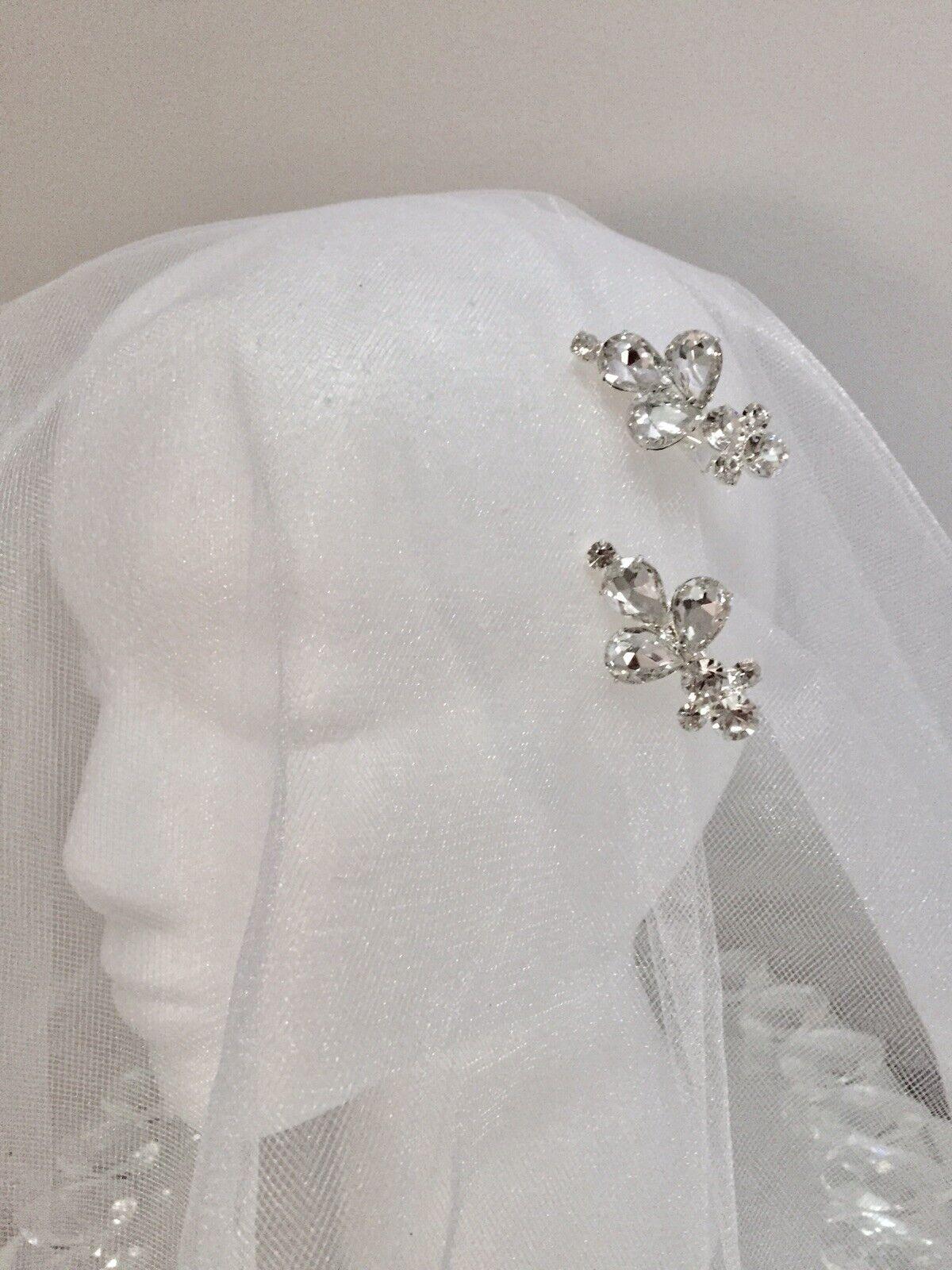 2 Vintage Silver Crystal Bridal Rhinestone Hair Clips Luxury Wedding Headband