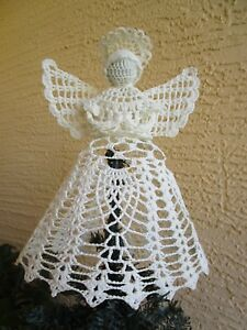 Vintage Crocheted Angel Christmas Tree Toppertable Decoration 9
